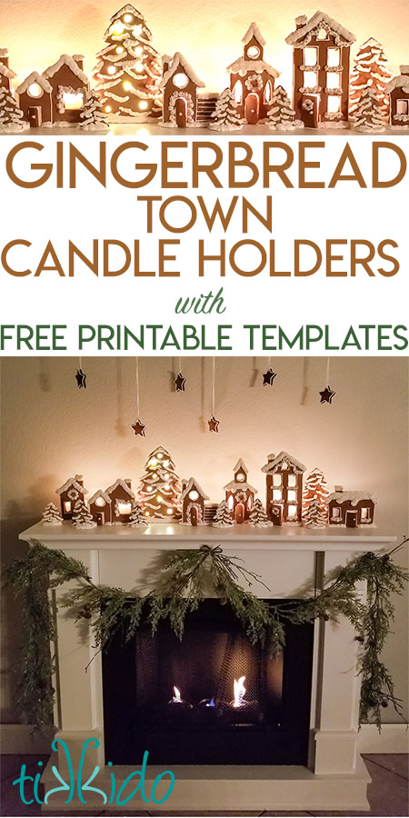 Gingerbread Town Candle Holders Christmas Mantle Tutorial