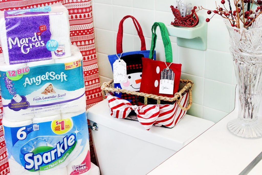 Creative Holiday Bathroom Decor + Overnight Guest Toiletry Bags!